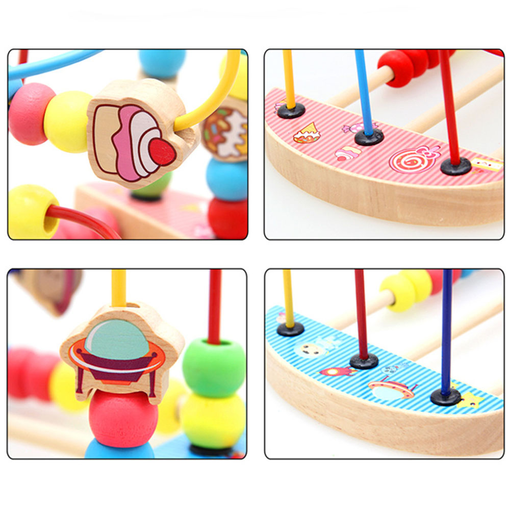 Baby Toys Colorful Bead Maze Child Educational Toy Wooden Animal Fruit Blocks Building Blocks Toy Gift Model Building Kits 4