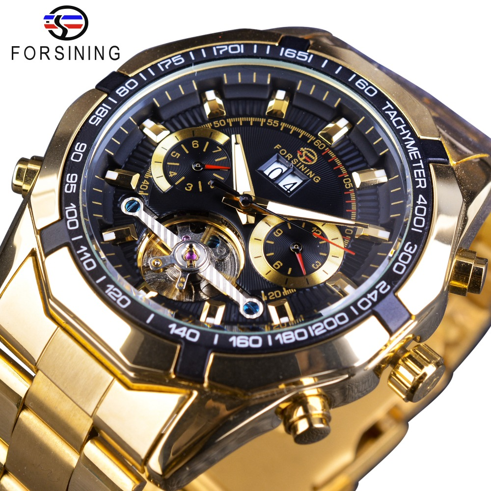 Forsining Business-Watch Tourbillion-Design Mens Golden Luxury Calendar-Display Choose title=