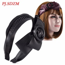 PJ.SDZM Button Bow Leather Headband Sweet Girl PU Bow Hairbands Women Leather Headwear Elegant Style Princess Hair Accessory(China)