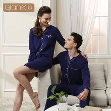 Qianxiu Cotton Pajama Set for Men Fashion Button Casual Home Wear Cardigan Lounge&sleep bottoms Lovers suit male nightgown 2017(China)