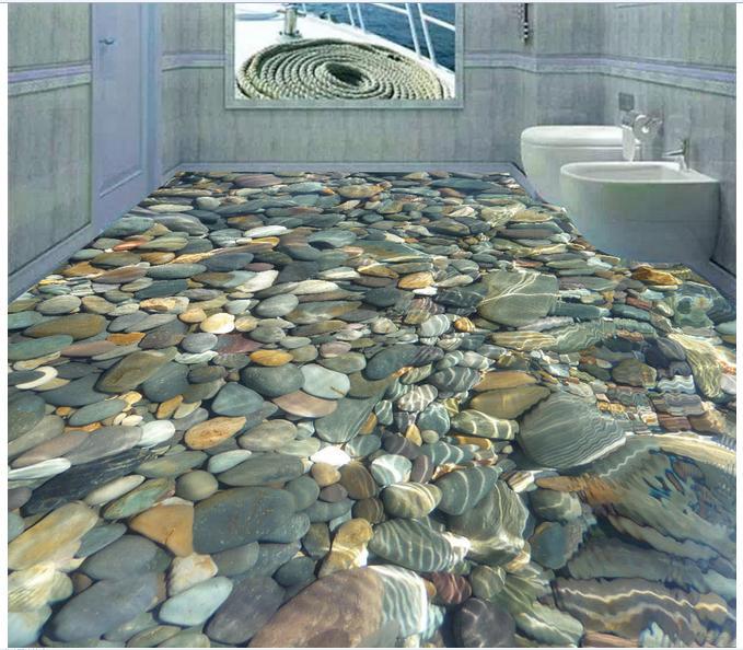 Customized 3d photo wallpaper 3d floor painting wallpaper 3 d water cobble floor tile decoration 3 d living room decoration<br>