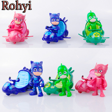 Rohyi 3pcs/lot Pj Mask Cartoon Characters Catboy Owlette Gekko Cloak Toys Car Set Pj Mask Toy Action Figure Model With airship