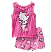 2017 Lovely Children Hello Kitty Pajamas KT CatSet Summer Sleeveless Kids Character Clothing Sets For Boy Girls pijama 2-7YEAR