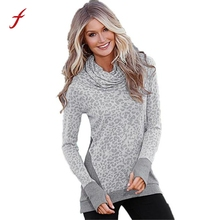 Feitong Autumn Womens Casual Long Sleeve Turtleneck Pullover Fashion Loose Leopard Splice Tops Tee Shirts femme camisetas y tops(China)