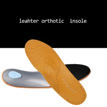 Top Sales 3D Premium Leather orthotics Flat Foot Insole Arch Support Orthotic Silicone Insole antibacterial active carbon 045(China)