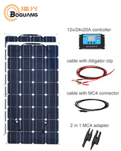 Boguang 200w solar system 100w panel 20A cable MC4 adapter DIYAgricultural household kit for 12v/24v battery RV yacht light(China)