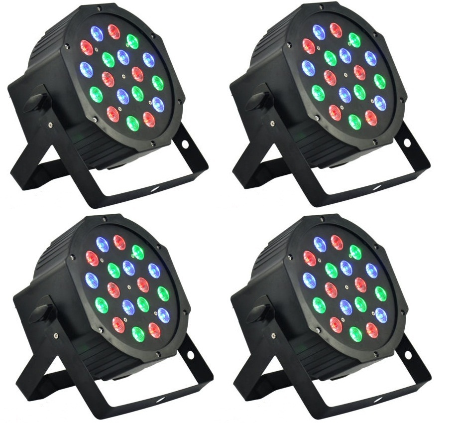 12xLOT Wholesales 18x3W RGB LED Flat Par Can Stage Light High Power DMX512 DJ Disco Strobe Lights for Home Party Wedding Bar<br>