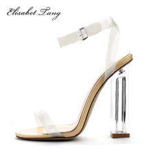 2017 Sexy Sandal Fashion Style PVC Clear Shoes 11cm Heel Transparent Back Strap High Heel Sandals Plus Size Women Shoes Summer