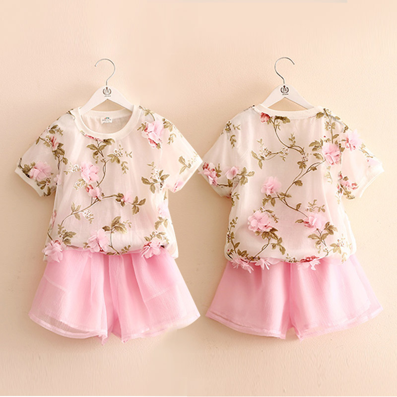 Summer new girls leisure dress pants suit temperament lovely flowers<br>