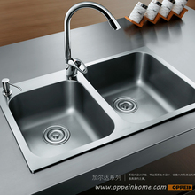 OPPEIN Stainless Steel Easy to Clean Double Bowel Kitchen Sink with Faucet (OP-PS329-TC)(China)