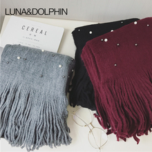 Luna&Dolphin Designer Women Winter Warm Knitted Scarf Pearl Nail Bead Soft Scarves Tassel Woolen Big Tippet Pashmina Blanket(China)