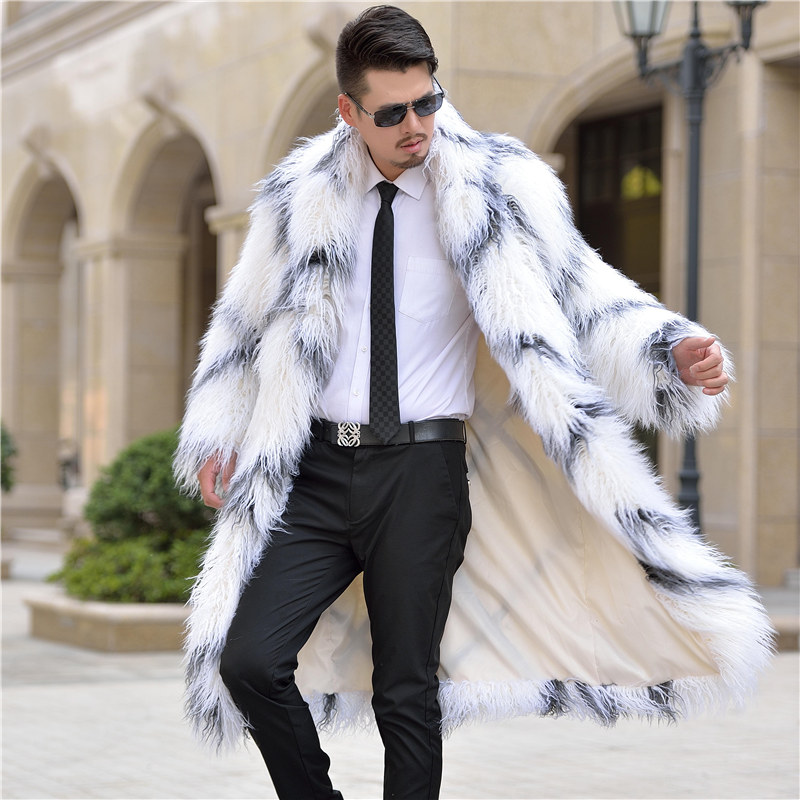 S-3XL Fall winter men fashion normic faux fur overcoat trench wool fur coat men's  overcoat long design  furry jackets coats