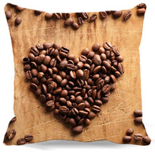 Heart made with coffee beans Printed 40 45 48 cm cotton polyester Square Pillow Cases For car chair Coffee Shop Home Decorative