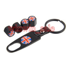 BBQ@FUKA Metal Car Wheel Tyre Tire Valve Dust Stems Air Caps Cover Emblem + Keychain Keyring Flag Of  England  Britain UK New