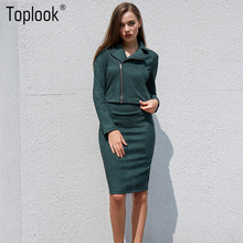 Toplook Fashion Women Suits 2017 Autumn Winter Green Suede 2-Piece Set Long Sleeve Zipper Top Pencil Skirt Casual Suits Female(China)