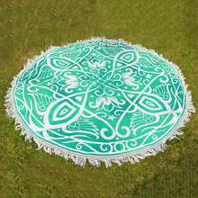 146CM Green Summer Swimming Large Round Beach Towel Women Serviette De Plage With microfiber Tassel