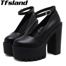 Buy 2018 Tfsland Women Thick High Heel Walking Shoes Sexy Ruslana Korshunova Thick Heels Leisure Platform Pumps Shoes Sneakers for $25.77 in AliExpress store