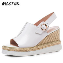 MSSTOR paja costura tacones altos sandalias mujeres Peep Toe blanco hebilla  del cuero genuino zapatos de verano de moda sandalia. d845e8294c4c