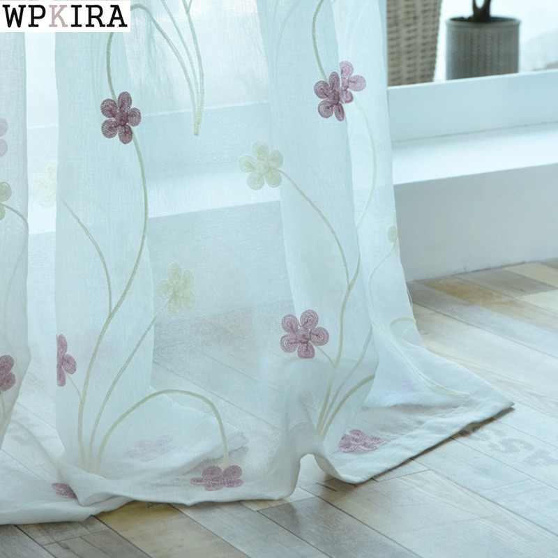 Blue Curtains Pink Embroidered Voile Modern Window Living Room Tulle Curtain Fabrics Sheer Rideaux Cortinas S062&30