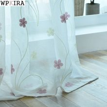 Blue Curtains Pink Embroidered Voile Modern Window Living Room Tulle Curtain Fabrics Sheer Rideaux Cortinas S062&30(China)