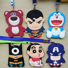 Character Silicone card holder for Student Captain America portable cute cartoon String Metro ID bus Identity badge with lanyard(China)