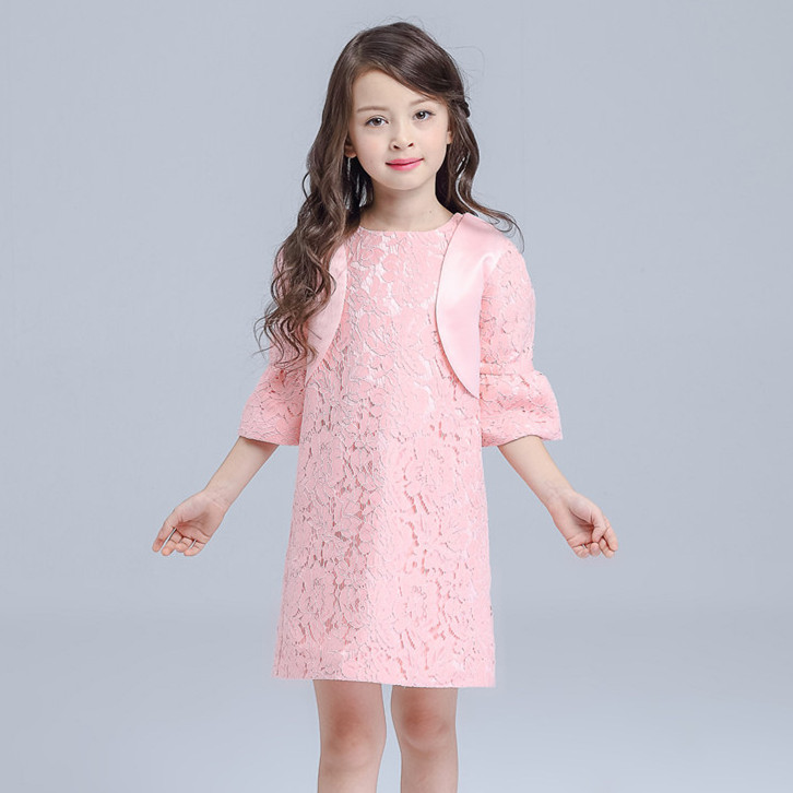 2017 Spring Autumn Pink Girl Dress Long Sleeve Party Christmas Girl Party Costume For 3 4 Year Old Girls Clothes AKF164114<br>