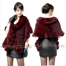 CX-B-M-15C Latest Ladies Ruffled Hand Knitted Genuine Mink Fur Shawl With Pockets Mink Fur Coat ~ NEW ARRIVE(China)