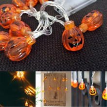 2M 20 Pumpkin Bulb Halloween String LED Lights Yellow Color AA Battery Power Props Halloween Home Party Decorations Supplies