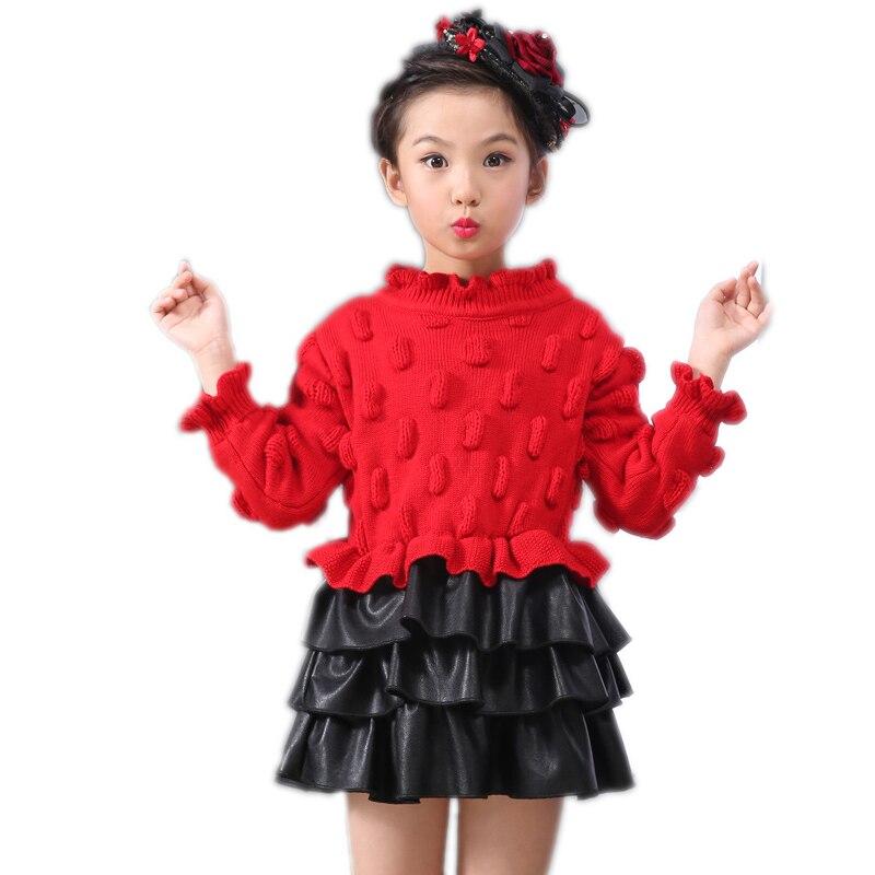 kids dress 2017 spring girls christmas dresses solid long sleeve girls dress peanut printed kids knitted sweater patchwork dress<br>