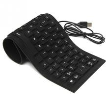 Portable 85keys mini Keyboards black USB wired silicon portable keyboard teclado layout for PC Laptop