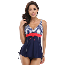 JAONIFER 2017 Women Plus Size Swimsuit Push Up Tankini Women's Striped Patchwork Swimwear Ladies Swimming Bathing Suits L-4XL(China)