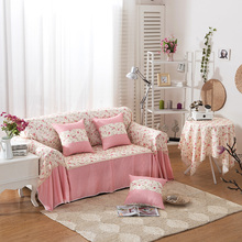 SunnyRain 1 piece Polyester Pink I Shaped Sofa Cover Sectional Sofa Covers Slipcover Couch Cover Chaise Longue Table Cloth(China)