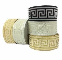 ZERZEEMOOY 33MM 10 Yard/lots Polyester Geometric design folk style silver and gold thread Woven Jacquard Ribbon