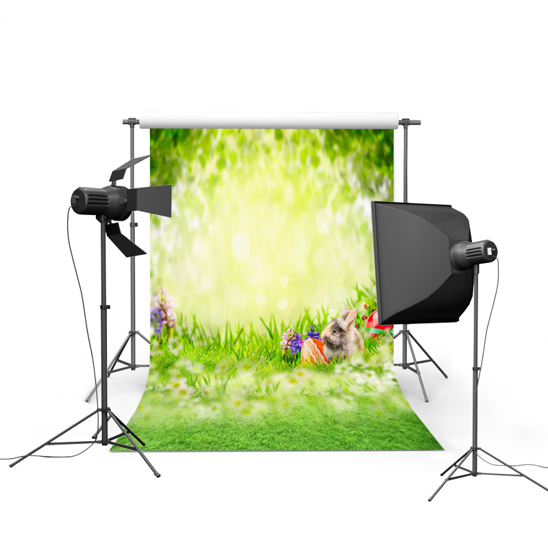 1.5MX2.2M Dream of green and colored eggs and lovely rabbit Easter printed vinyl background GE-061<br><br>Aliexpress