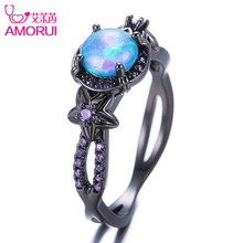 AMORUI Vintage Black Gold Color Blue Opal Flower Weddings Rings for Women/Men Jewelry Purple Birthstone Engagement Ring Bague