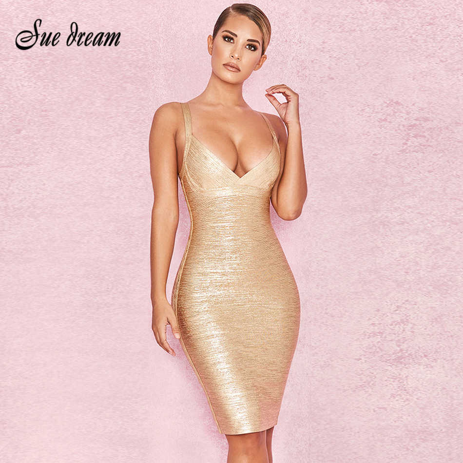 Detail Feedback Questions about 2018 Summer new women dress sleeveless v  neck bandage dress sexy bodycon bronzing celebrity party gold dresses  vestido ... c54777845