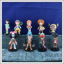 Free Shipping Japan Anime One Piece Mini Action Figures The Straw Hats Luffy/Roronoa/Zoro/Sanji/Chopper Figure Toys 9pcs/set