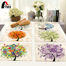 42X32CM Table Napkins Mix 10 Style Beautiful Happy Tree Images Linen Dinner Table Napkins Tea Coffee Towel Table Decor Tea Set