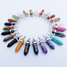 Wholesale 50pcs Assorted Natural Stone Pendants Charms Hexagonal Pointed Healing Reiki Chakra pendant rose suartz opal tiger eye(China)