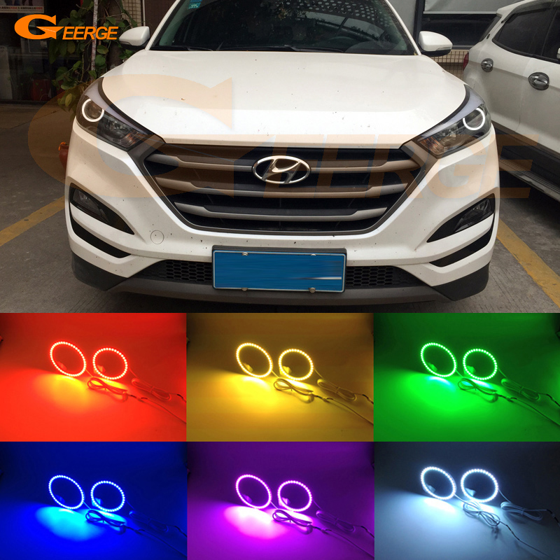 For Hyundai Tucson 2016 2017 HALOGEN HEADLIGHT Excellent Angel Eyes Multi-Color Ultra bright RGB LED Angel Eyes kit halo rings<br>