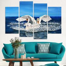 Free shipping two swans canvas paintings for sale new fashion decoration animal oil painting printed on canvas(China)