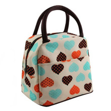 Fashion Portable Lunch Bag Insulated Oxford Waterproof Love Heart Thermal Food Picnic Lunchbox Tote Holder for Women Kids Men