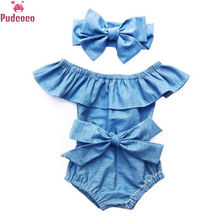 Neugeborenen Baby Mädchen Kleidung Set Toddle Infant Front Bowknot Romper Rüschen Ärmellose Overall Baumwolle Sommer Outfits Kleidung 0-24 M(China)