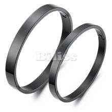 1 piece New Fashion His or Hers Matching Bangle Couple Lovers Black IP Stainless Steel Bracelets Bangles Valentine's Day gift(China)