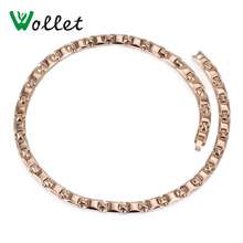 Wollet Jewelry 50 Cm Solid Germanium Power Health Energy Hematite Necklace Women Rose Gold Color Jewelry For Femme