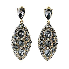 Ms Luxury Nightclubs Dazzle Colour Leaf Earrings Big Ear Accessories Small Mixed Batch of Factory Outlets(China)