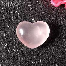 KiWarm Hot Sale 30mm*25mm Rose Pink Crystal Quartz Stone Heart Shape Healing Gemstone Crafts Home Wedding Party Decor Gift