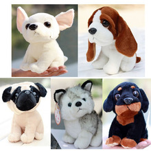 Plush doll 5pcs a set 20cm cartoon cute Husky Chihuahua Perky Pug dog little home decoration stuffed toy creative gift for baby(China)