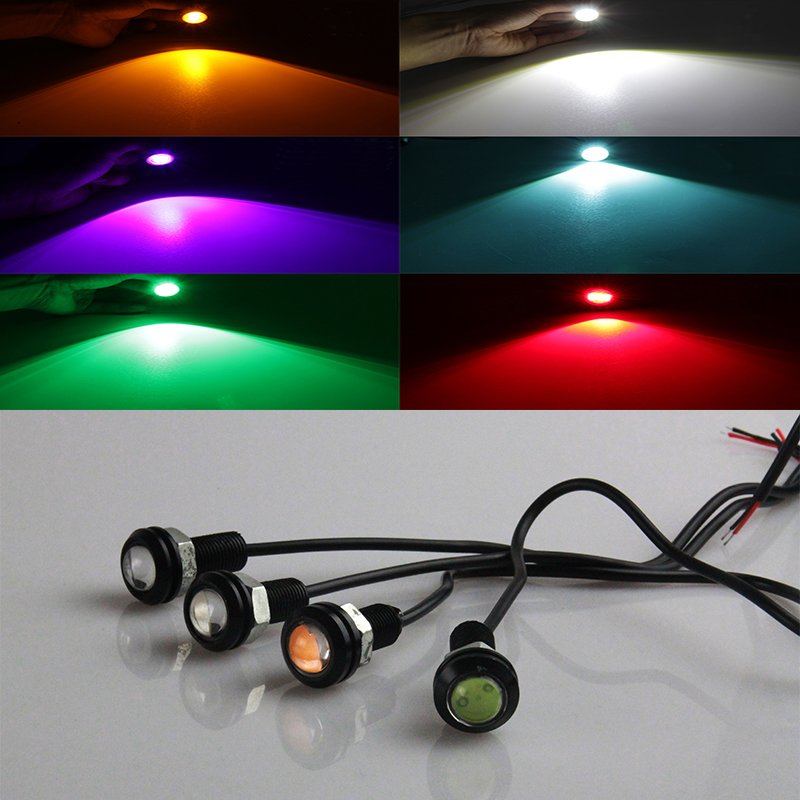 10pcs Super Brightness Eagle Eyes LED 18mm Silver Shell DRL Daytime Running Lights Working Waterproof Parking Lamp Car Styling<br><br>Aliexpress