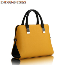 ZHI GENG BIRDS! Famous Brand Fashion Brief Women Bags Ladies Leather Handbag High Quality Business Crossbody Boston Tote Bag Y60